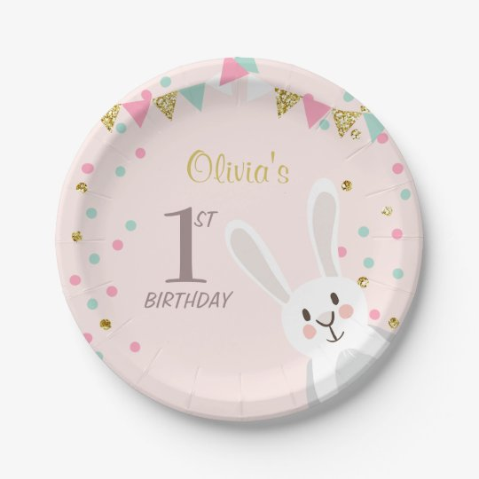 Bunny Paper Plates Birthday Spring Easter Pink  sc 1 st  Zazzle & Bunny Paper Plates Birthday Spring Easter Pink   Zazzle.com