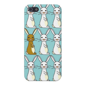 Bunny Parade Blue - Brown and White Bunbun iPhone SE/5/5s Case