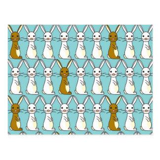 Bunny Parade Blue - Brown and White Bunbun Postcard