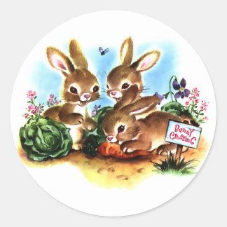 Bunny Patch Classic Round Sticker