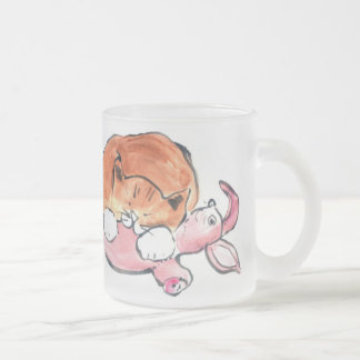 Bunny Pillow for Kitty 10 Oz Frosted Glass Coffee Mug