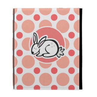 Bunny; Pink & Coral Polka Dots iPad Folio Cases