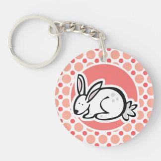 Bunny Pink Coral Polka Dots Acrylic Keychains
