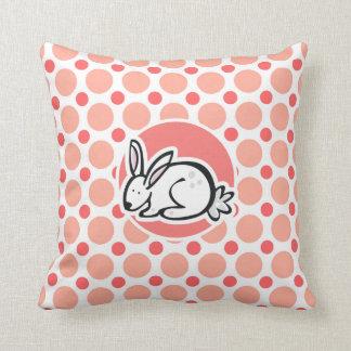 Bunny; Pink & Coral Polka Dots Throw Pillows