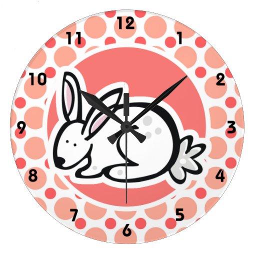 Bunny; Pink & Coral Polka Dots Wall Clock