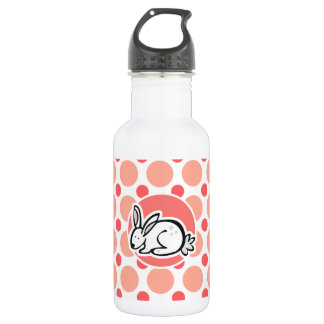 Bunny; Pink & Coral Polka Dots Water Bottle