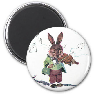 Bunny Playing the Violin 2 Inch Round Magnet