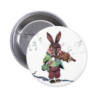 Bunny Playing the Violin Button