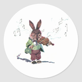 Bunny Playing the Violin Round Sticker