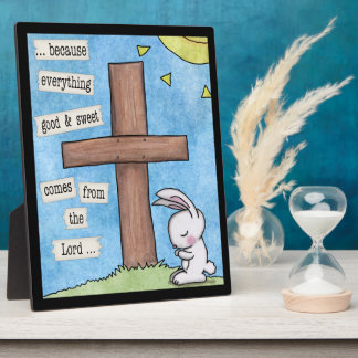 Bunny Prays At the Cross Plaques