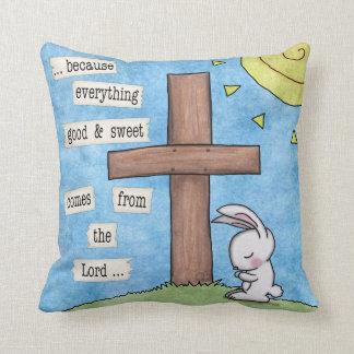 Bunny Prays At the Cross Throw Pillow