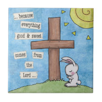 Bunny Prays At the Cross Tile