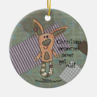 Bunny Prim Double-Sided Ceramic Round Christmas Ornament