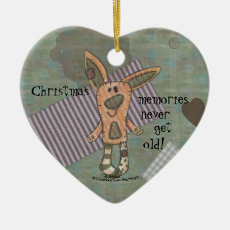 Bunny Prim Double-Sided Heart Ceramic Christmas Ornament