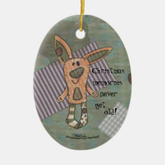 Bunny Prim Double-Sided Oval Ceramic Christmas Ornament