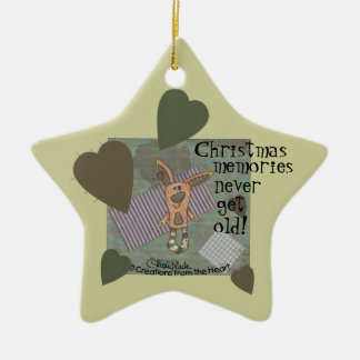 Bunny Prim Double-Sided Star Ceramic Christmas Ornament