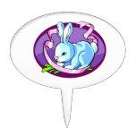 bunny purple ribbon lilac oval.png cake pick