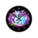 bunny purple ribbon lilac oval.png wallclock