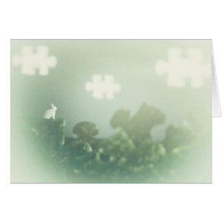 BUNNY Puzzle Land Jigsaw Clouds Grass Customizable Card