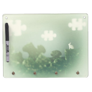 BUNNY Puzzle Land Jigsaw Clouds Grass Customizable Dry Erase Board With Keychain Holder