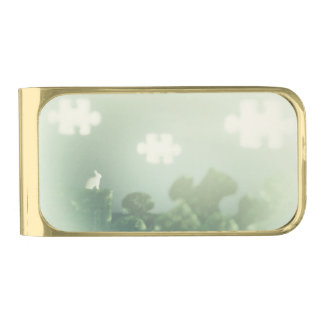 BUNNY Puzzle Land Jigsaw Clouds Grass Customizable Gold Finish Money Clip