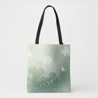 BUNNY Puzzle Land Jigsaw Clouds Grass Customizable Tote Bag