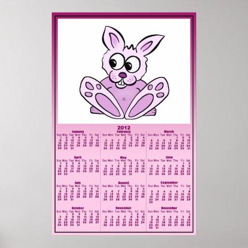 Bunny Rabbit 2012 Calendar Posters