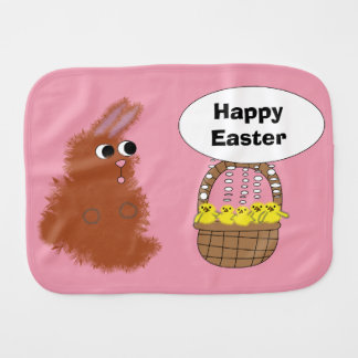 Bunny Rabbit and Baby Chicks Happy Easter Burp Cloth
