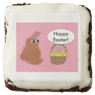 Bunny Rabbit and Baby Chicks Happy Easter Custom Chocolate Brownie