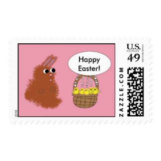 Bunny Rabbit and Baby Chicks Happy Easter Postage Stamp