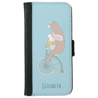 Bunny Rabbit and Brown Bear Riding a Bike Wallet Phone Case For iPhone 6/6s
