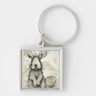 Bunny Rabbit and Flowers Key Chain
