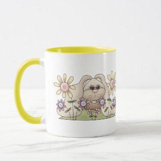 Bunny Rabbit and Flowers Mug