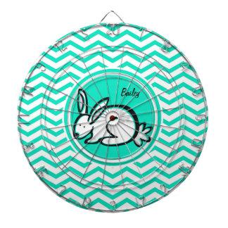 Bunny Rabbit; Aqua Green Chevron Dartboard With Darts