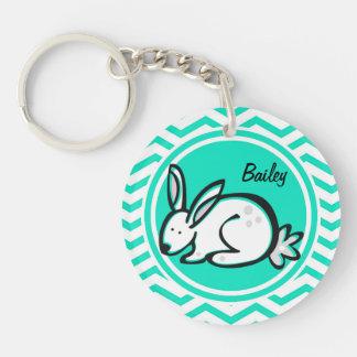 Bunny Rabbit Aqua Green Chevron Acrylic Keychain