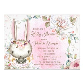 Bunny Rabbit Baby Shower Invitations