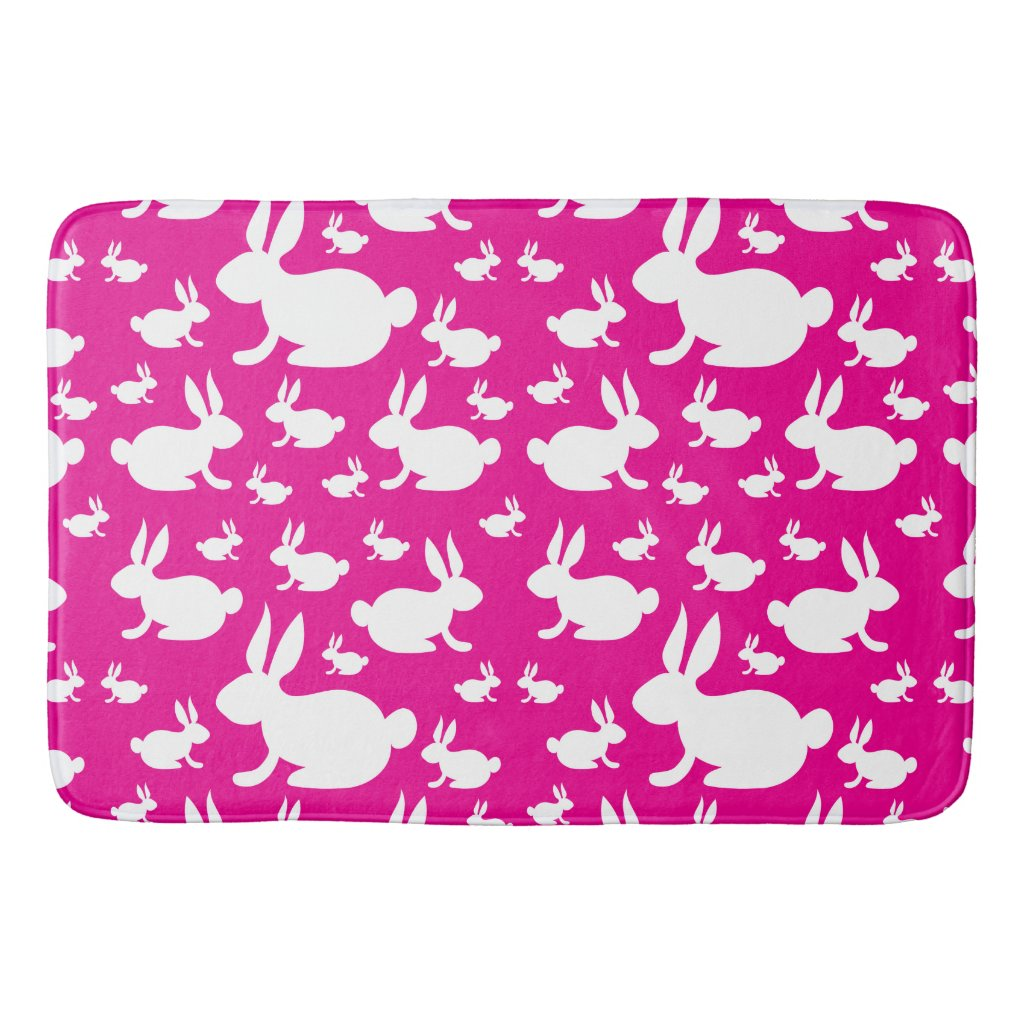 Bunny Rabbit Bath Mat Pink and White