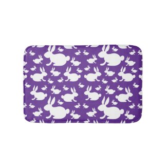 Bunny Rabbit Bath Mat Purple and White