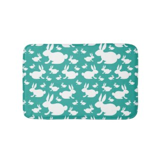 Bunny Rabbit Bath Mat Teal and White