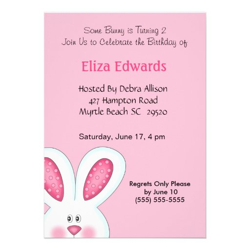 Personalized Easter Egg Birthday Party Invitations - Bunny birthday invitation template