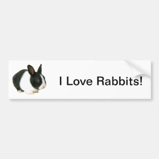 Bunny Rabbit Black & White Bumper Sticker