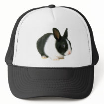 Bunny Rabbit Black & White Trucker Hat
