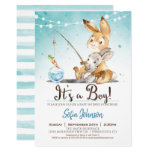Bunny Rabbit Boy Baby Shower Blue Invitation