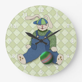 Bunny Rabbit Boy in Blue Overalls Large Clock