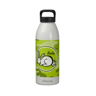 Bunny Rabbit; bright green camo, camouflage Water Bottle