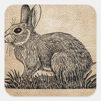 Bunny Rabbit Burlap Square Sticker