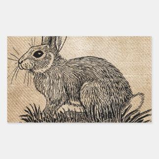 Bunny Rabbit Burlap Rectangular Sticker