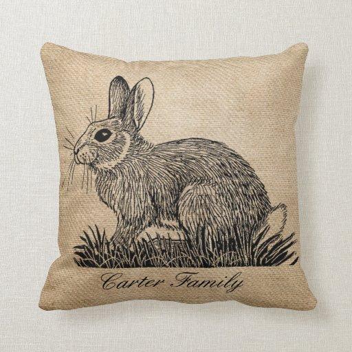 Bunny Rabbit Burlap Throw Pillow Zazzle