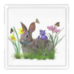 Bunny Rabbit, Butterflies, Flowers Acrylic Tray