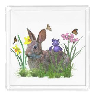 Bunny Rabbit, Butterflies, Flowers Acrylic Tray